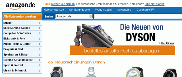 amazon Karteireiter Navigation